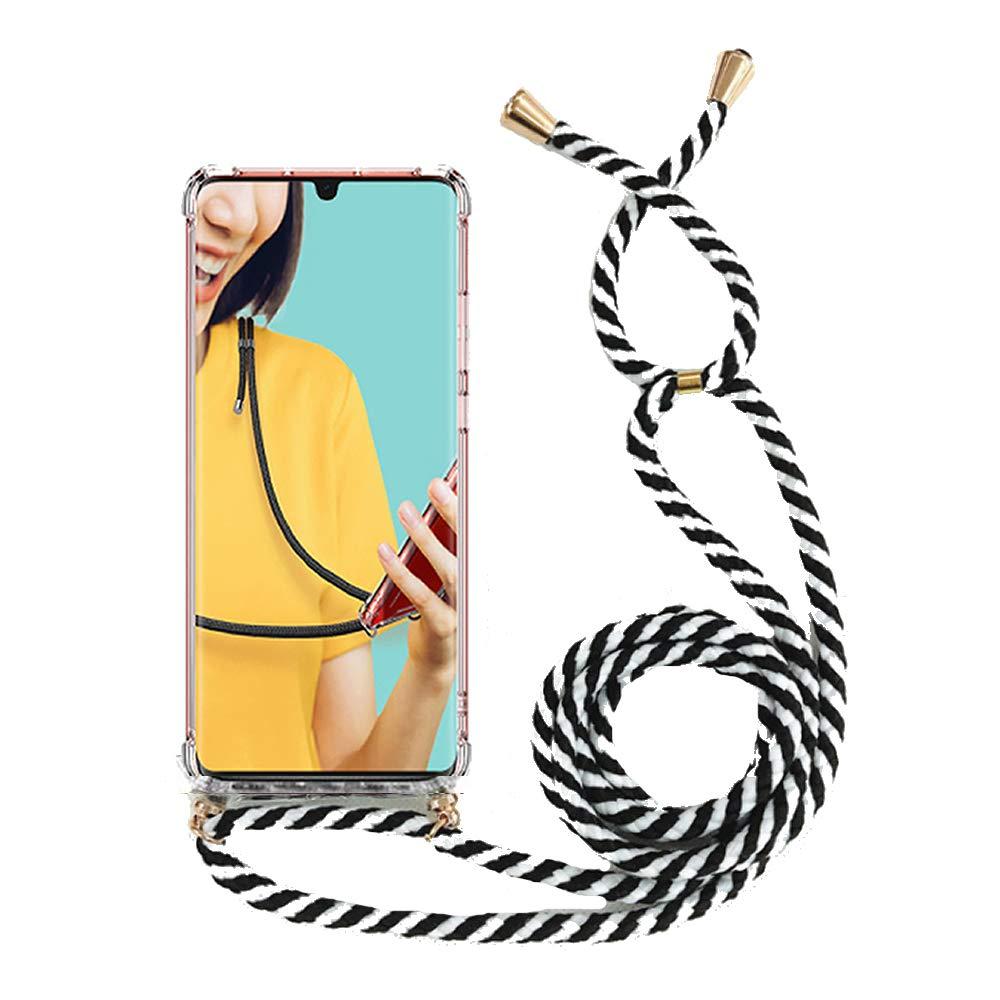 Miagon für Samsung Galaxy S9 Halskette HülleKlar Silikon Handy Schutzhülle Kordel zum Umhängen Necklace Crossbody Cover mit Band SchnurZebra Schwarz
