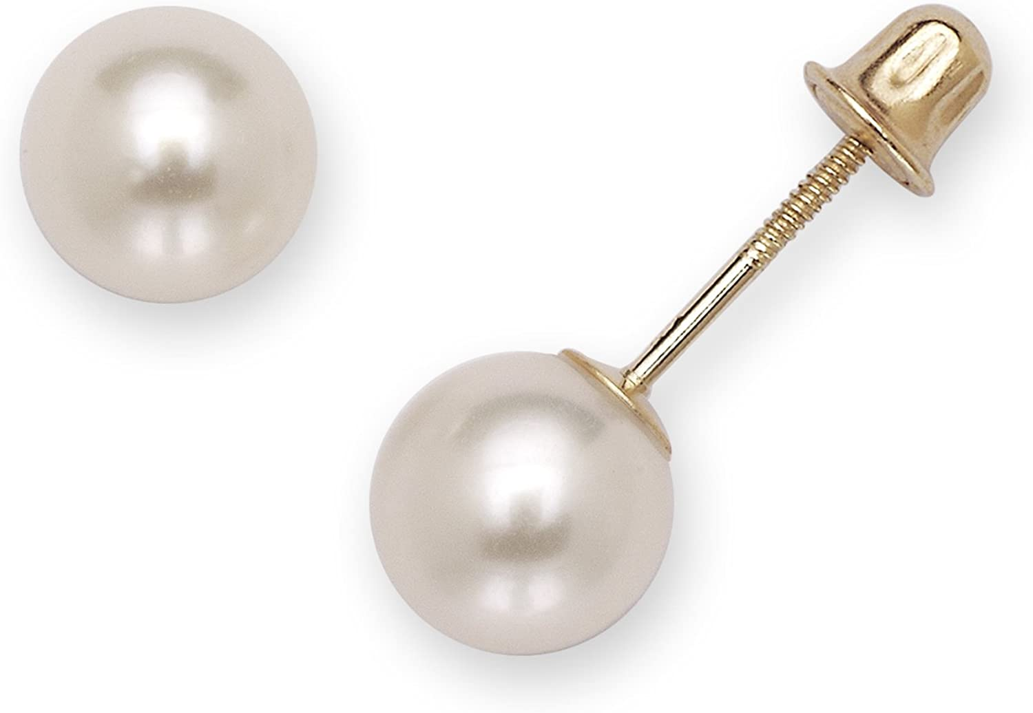 14k Yellow Gold White Cultured Pearl Screw Back Earrings Babies Toddlers Girls