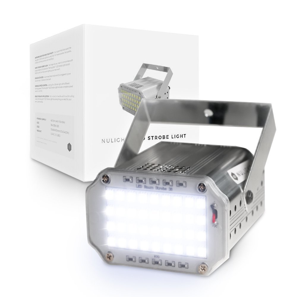 LED Strobe Light by NuLights - Strobe Flash Party Lights - 100% RISK FREE! Best for Birthdays, DJ/Disco Parties & Children's Parties - Mini Strobe Light with 36 LEDs, Sound Activated, Variable Speed by NuLights