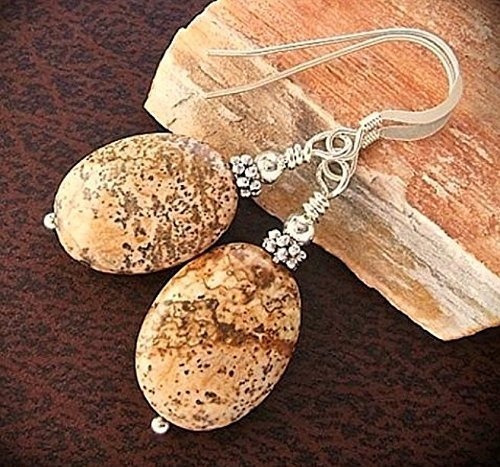 Brown Picture Jasper Earrings Sterling Silver Hooks Natural Stones Artist - Pictures Handcrafted