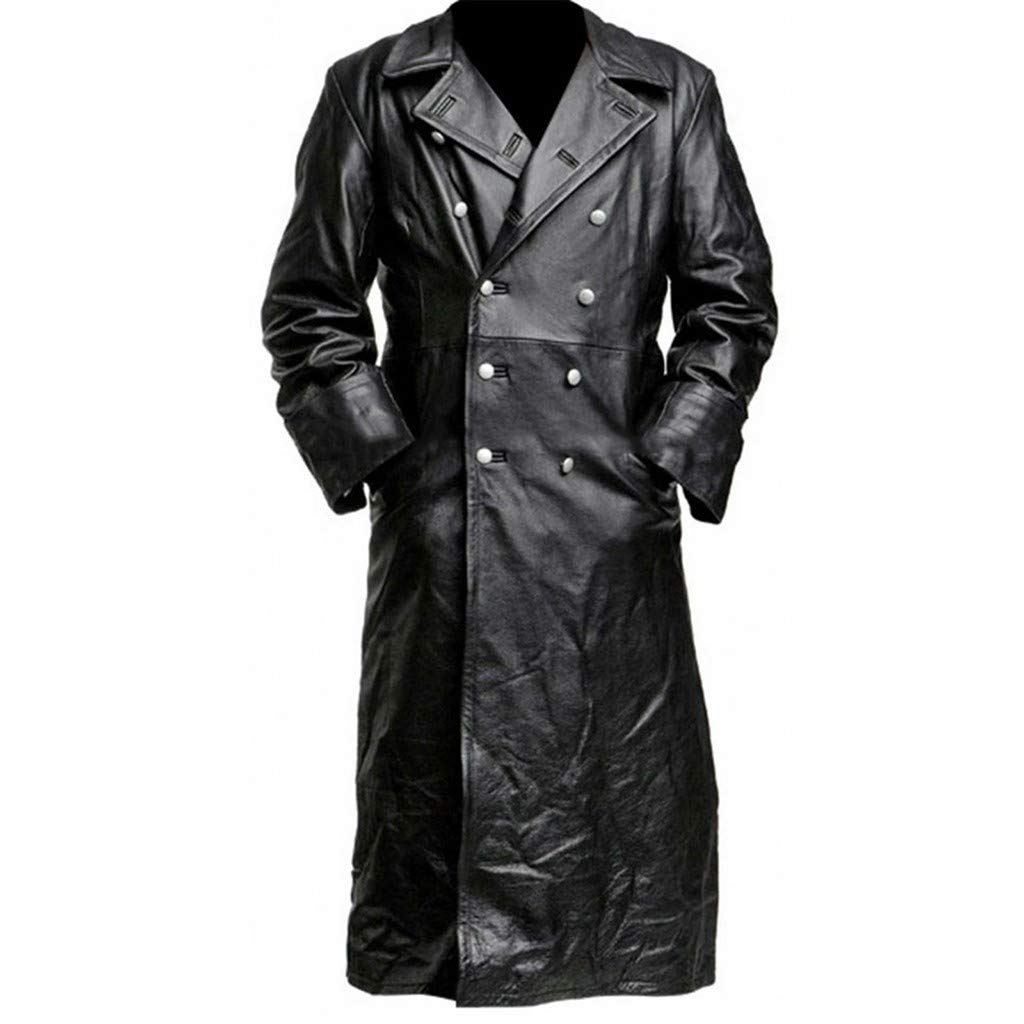 Mens Fashion Retro Black Leather Gothic Long Coat Steampunk Gothic Vampire Hunter Matrix Long Trench Coat by F_Gotal Mens blazer