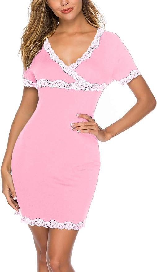 Camicia da Notte da Donna Vestito Scollo a V Manica Corta ABirdon Pigiama Cotone da Donna S-XXL