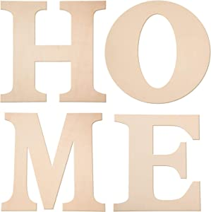 """4 Pieces 12 Inches Unfinished Wooden Letters""""Home"""" Wood Letters Wooden Home Decoration Letters Wooden Block Cutout Letters for Home Wall Decoration"""