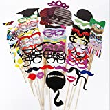 ThyWay Photo Booth Props 76 PCS DIY Kit for Wedding Party Reunions Birthdays Photobooth Dress-up Accessories & Party Favors, Costumes with Mustache on a stick, Hats, Glasses, Mouth, Bowler, Bowties