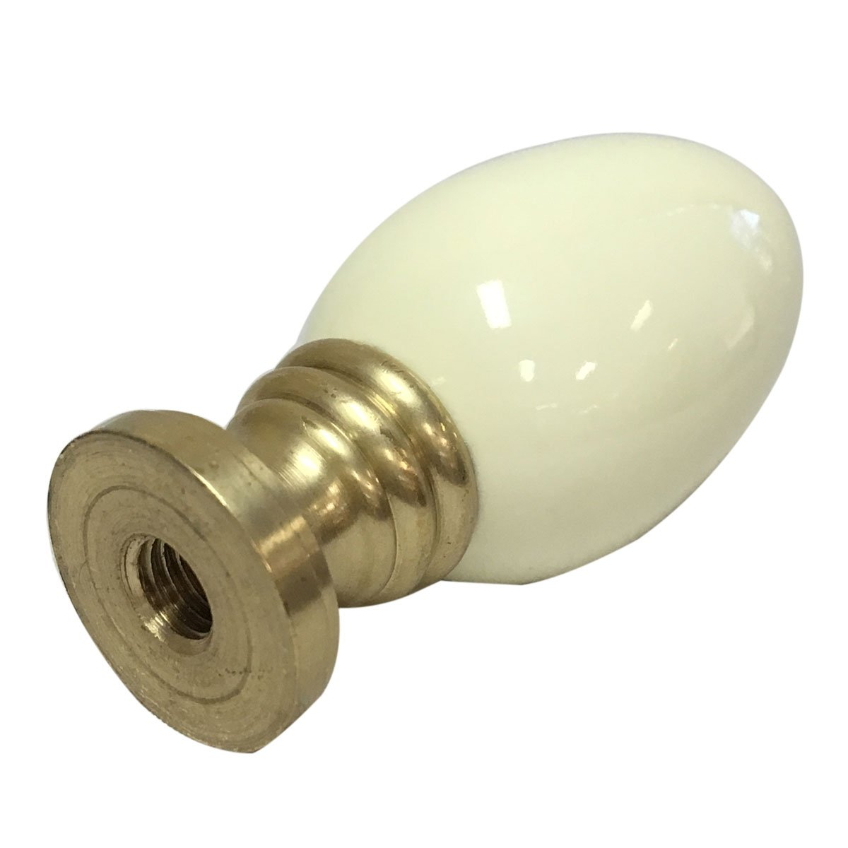Royal Designs Ceramic Egg Shaped White Lamp Finial on Polished Brass Base