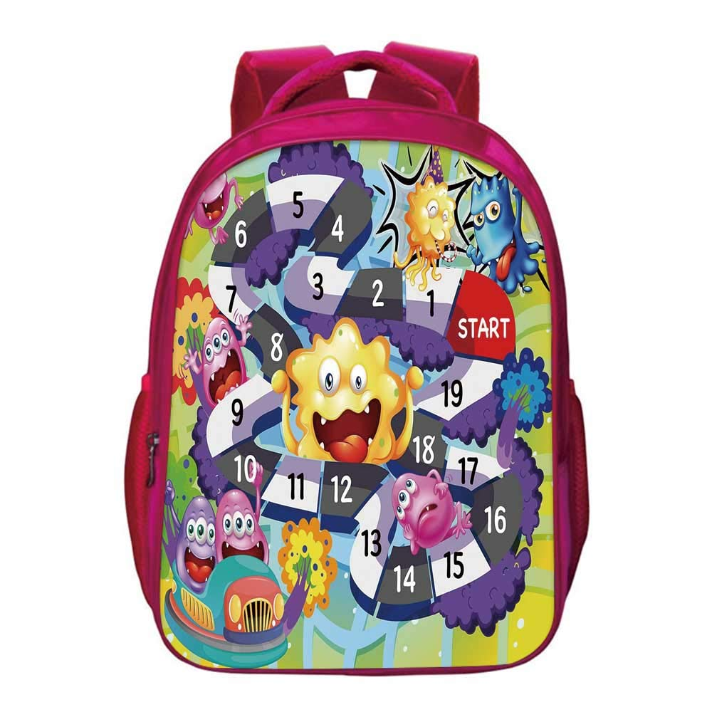 Board Game Lightweight School Bag,Silly Monsters Creatures Finish Route Numbers Funny Expressions Cheering Aliens Decorative for Kids Girls,11.8''Lx6.3''Wx15.7''H by YOLIYANA