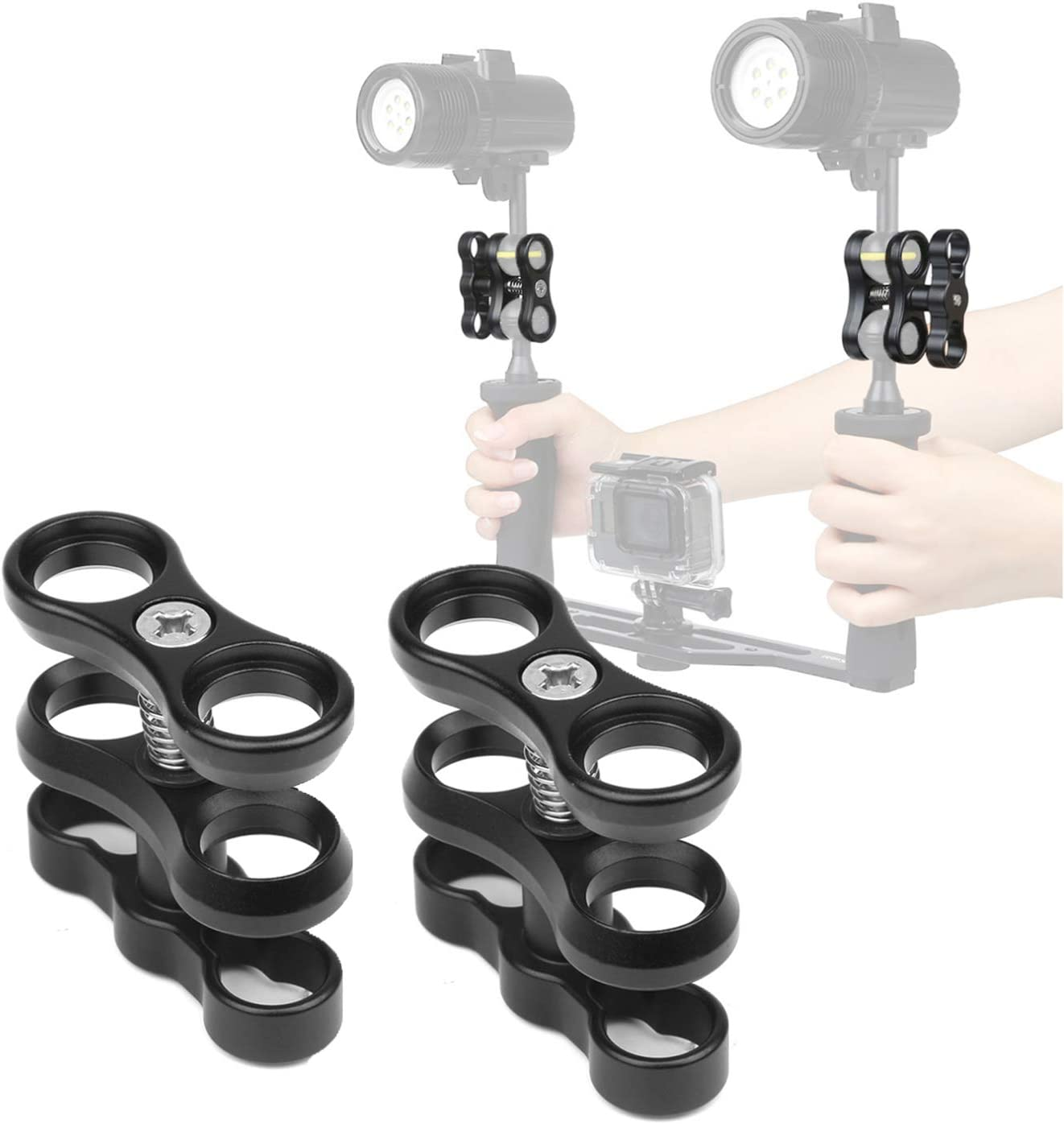 """2 Pcs 1"""" Aluminum Ball Clamp Mount for Underwater Diving Light Arms Tray System, Photography Diving Camera"""