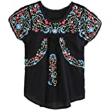 Kafeimali Women's Peasant Tops Mexican Blouse Flowers Embroidered Boho T Shirt