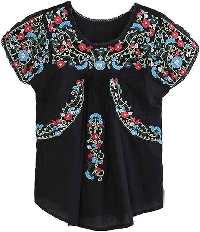 Amazon.com: Kafeimali Blusa mexicana con flores bordadas ...
