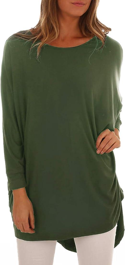 S M L XL in 3 Farben Damen Longshirt Tunika Top Shirt T-Shirt rückenfrei Gr