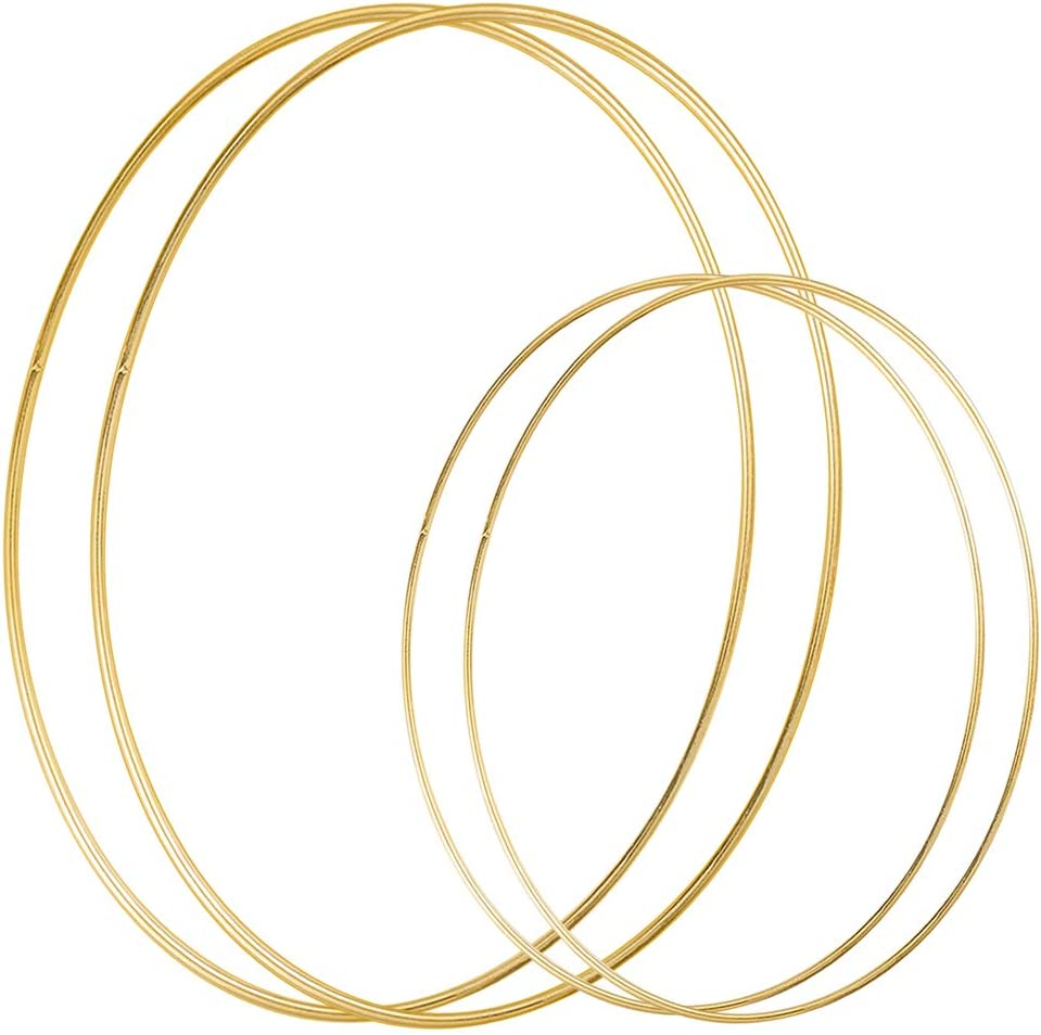 Sntieecr 4 Pack (12 & 18 Inch) Large Metal Floral Hoop Wreath Macrame Gold Hoop Rings for Making Christmas Wreath Decor, Dream Catcher and Macrame Wall Hanging Crafts