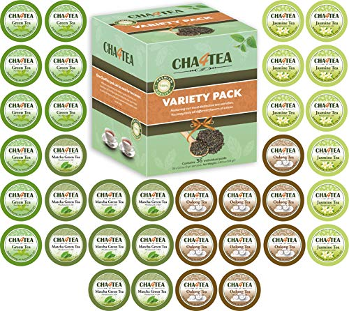 (Cha4TEA 36-Count K Cups Assorted Green Tea for Keurig K-Cup Brewers (Matcha Green Tea, Green Tea, Jasmine Green Tea, Oolong Green Tea))