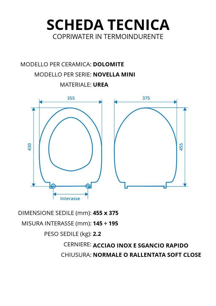 Ceramica Dolomite Novella Mini.Copriwater Per Dolomite Novella Mini Termoindurente Bianco Cerniera