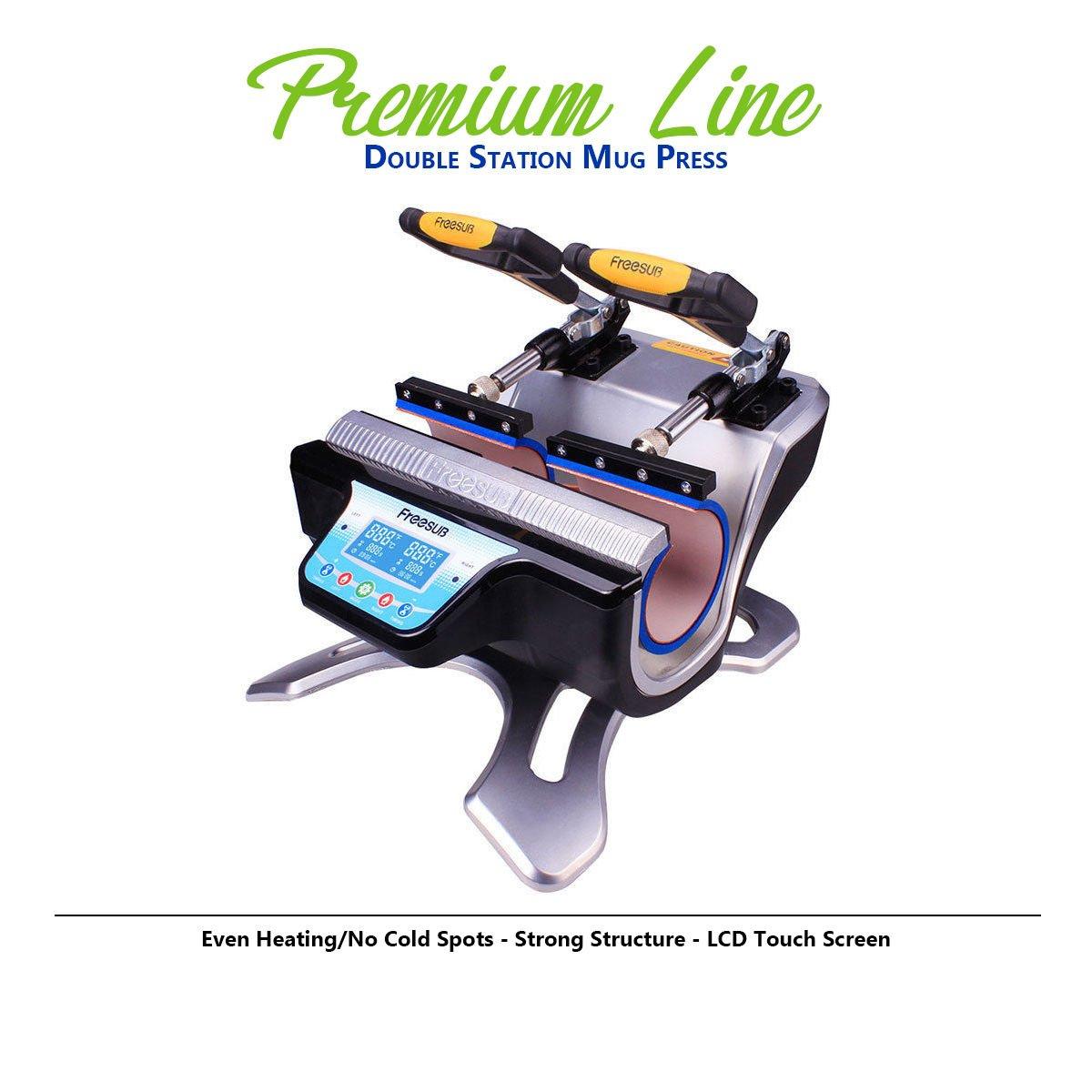 Heat Press Machine Mug Press, Mugs and Sublimation - Transfer MUGS Machine!! (11 Oz Double Mug Press, Gold Gift: 2 White Mugs + Transfer Tape) by world-paper