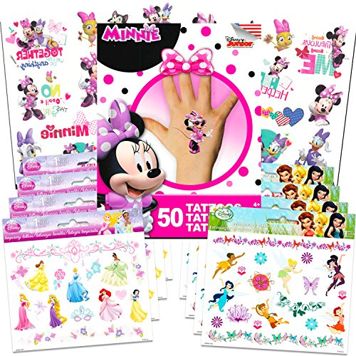 Disney Tinkerbell Tattoos - Disney Tattoos Party Favor Set For Girls -- Over 175 Temporary Tattoos Featuring Minnie Mouse, Disney Princess and Disney Fairies (12 Temporary Tattoo Sheets)