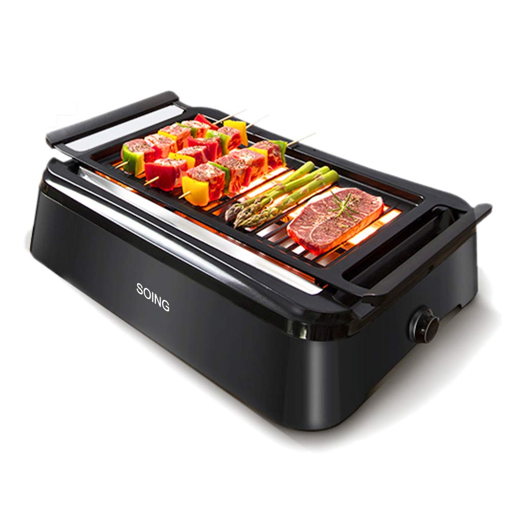Soing Advanced Smokeless Indoor Grill,Portable Electric Infrared Indoor Grill,Removable Plates,Dishwasher-Safe,Black by Soing
