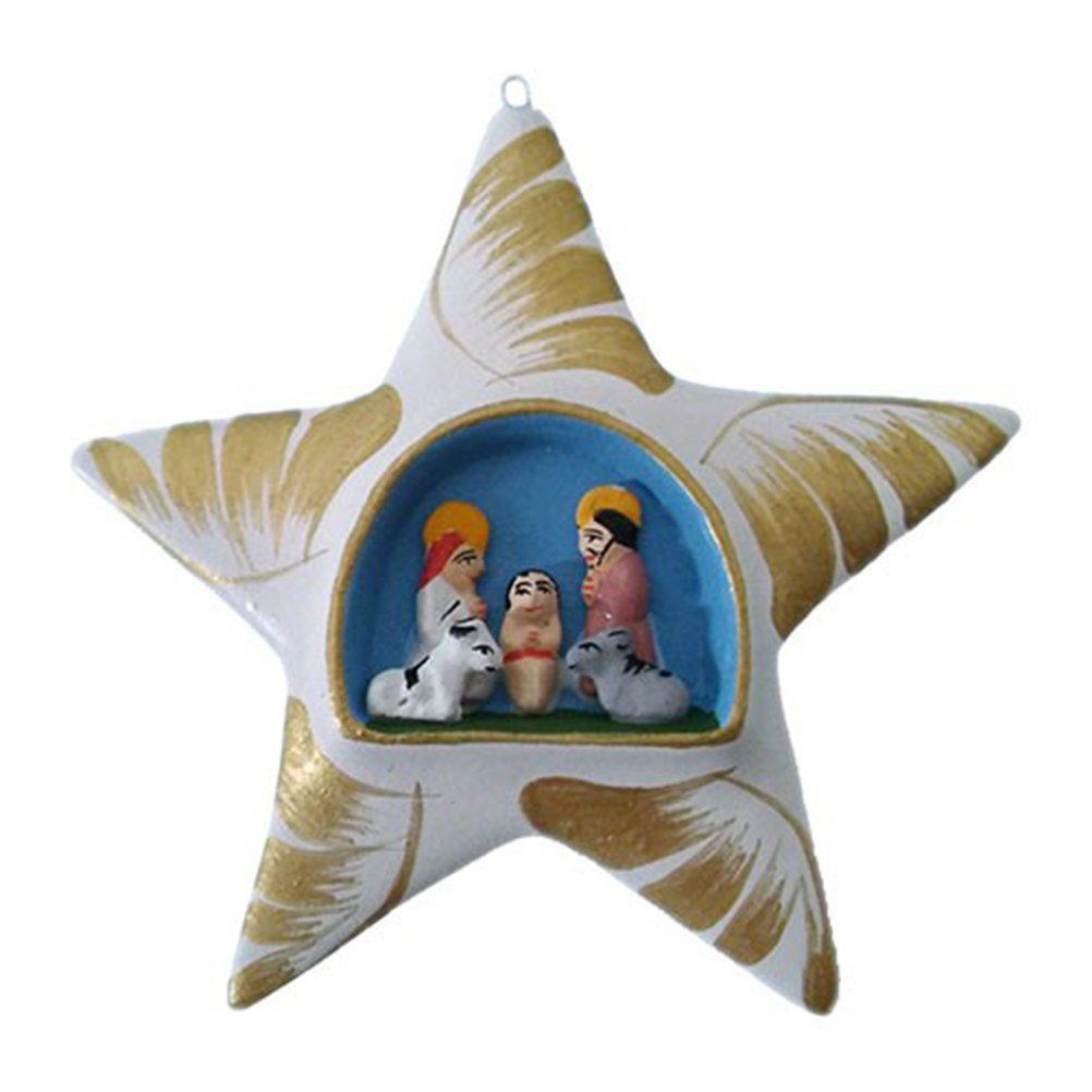 Fair Trade Weihnachtsschmuck Estrella Decorativa de Arcilla Belén de Navidad para Colgar - Comercio Justo, Rojo: Amazon.es: Juguetes y juegos