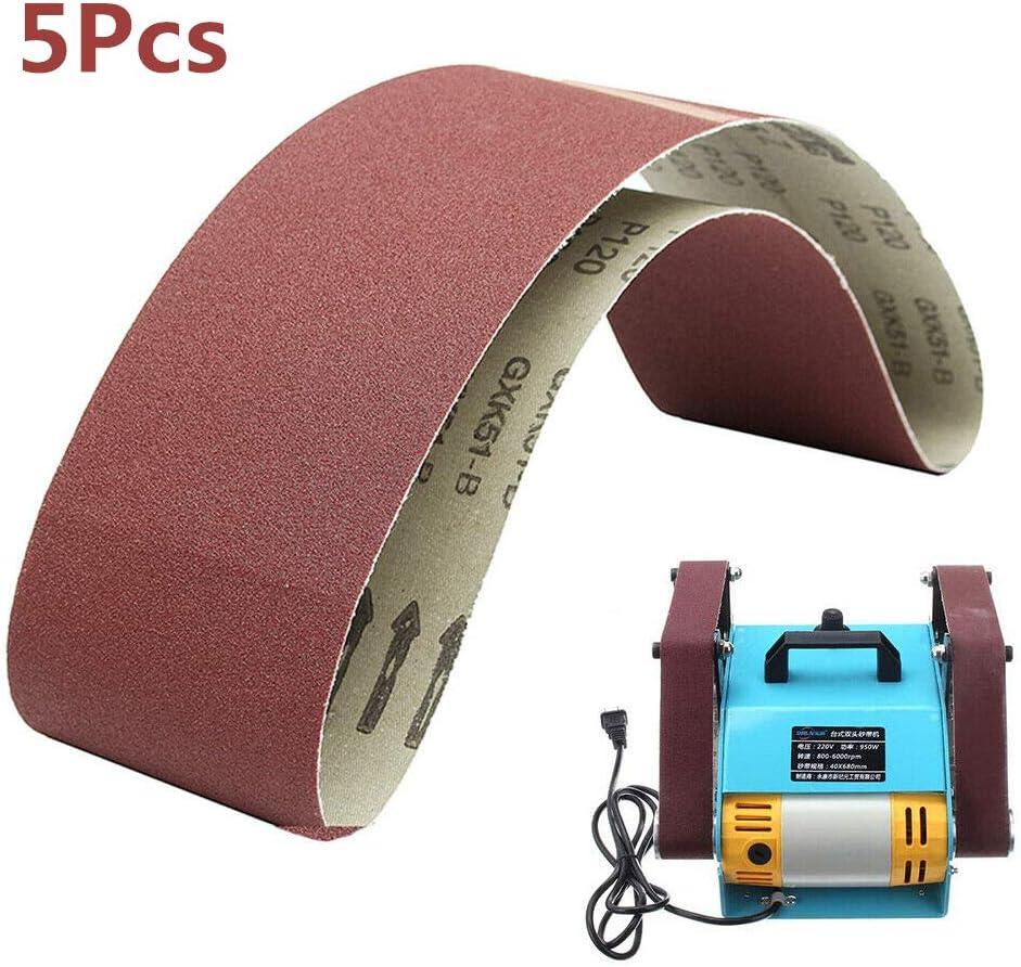 BE-TOOL carpinter/ía pulido de metal 5 bandas de lijado de /óxido de aluminio para lijadora de cintur/ón