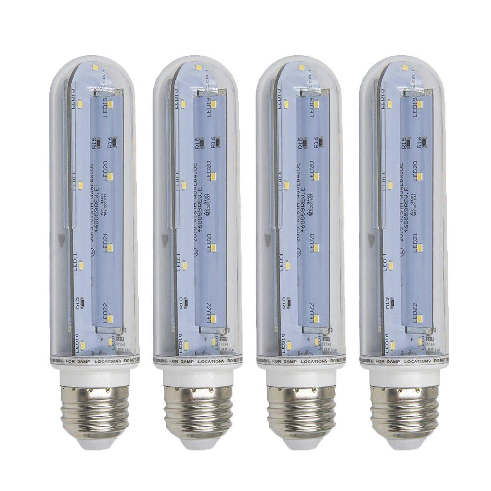 Ashialight LED T10 Light Bulbs 5000K Daylight Refrigerator and Freezer Light Medium Screw E26 Base With UL List for Fridge and Freezer,Piano Light,Showcase,Cabinets Lighting-4pcs/pack