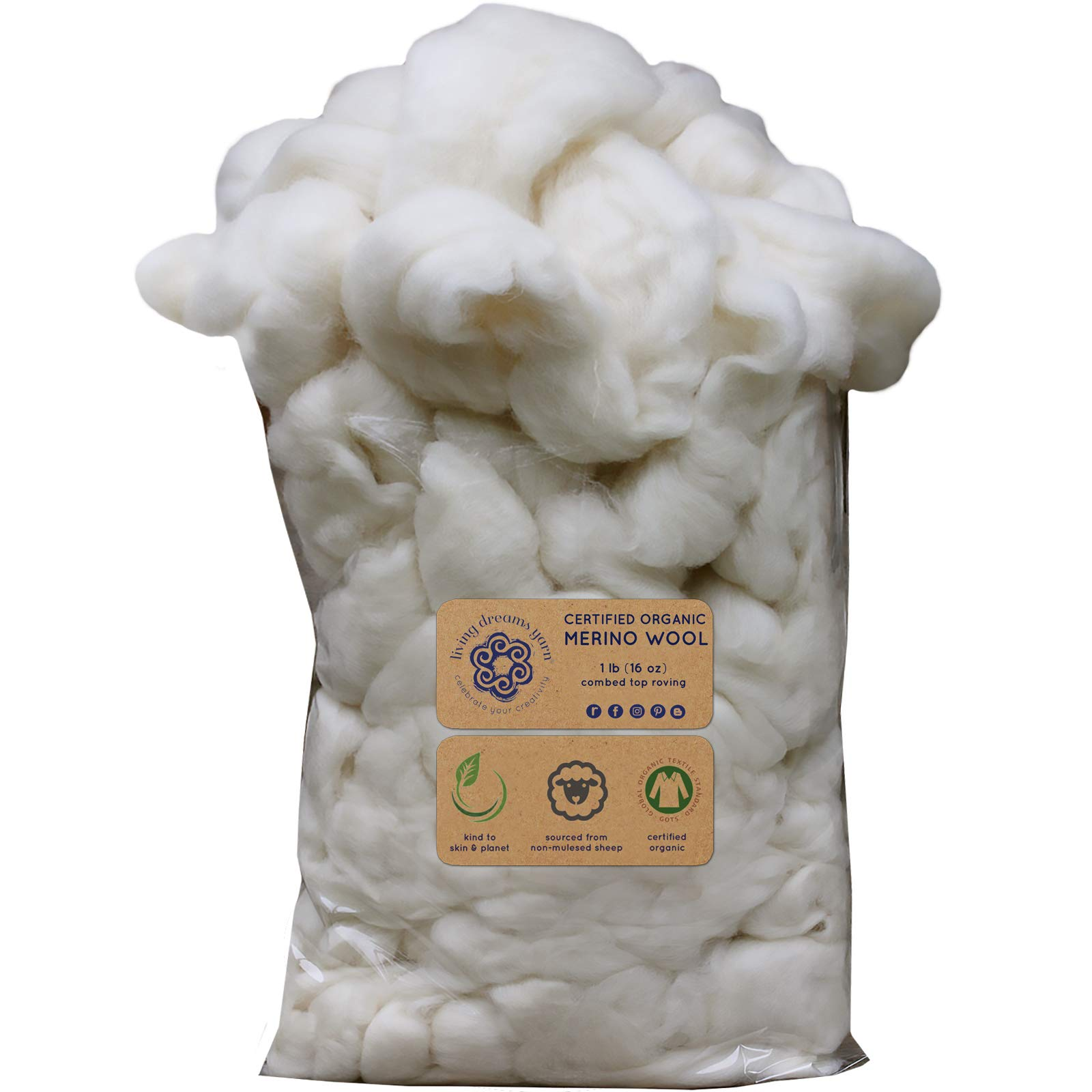 CERTIFIED ORGANIC Merino Wool Roving. Ethically & Responsibly Sourced Fiber for Spinning, Felting, Filling and Dryer Balls - 1 LB Bag, Natural White