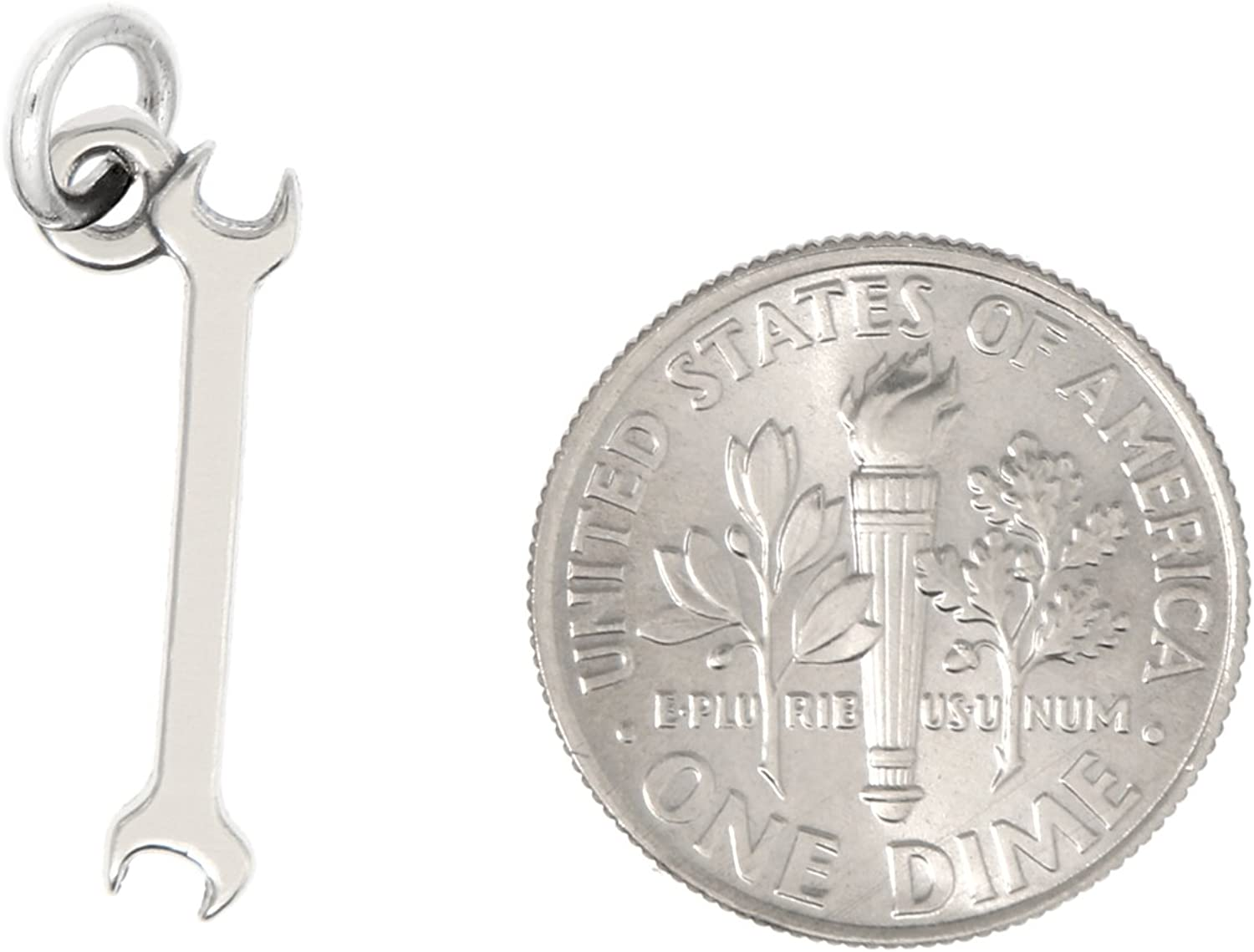 Lgu Sterling Silver Oxidized Wrench Tool Charm with Options