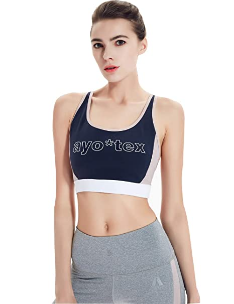 4f47914675681 AYO TEX Racerback Sports Bras for Women Wirefree Colorblock ...