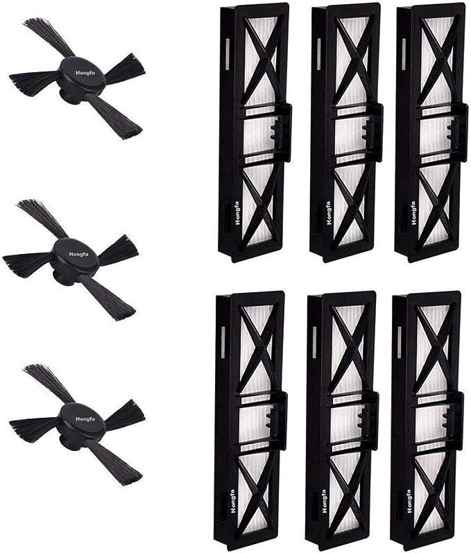 6 filtros de repuesto y cepillos laterales para robot aspirador ...