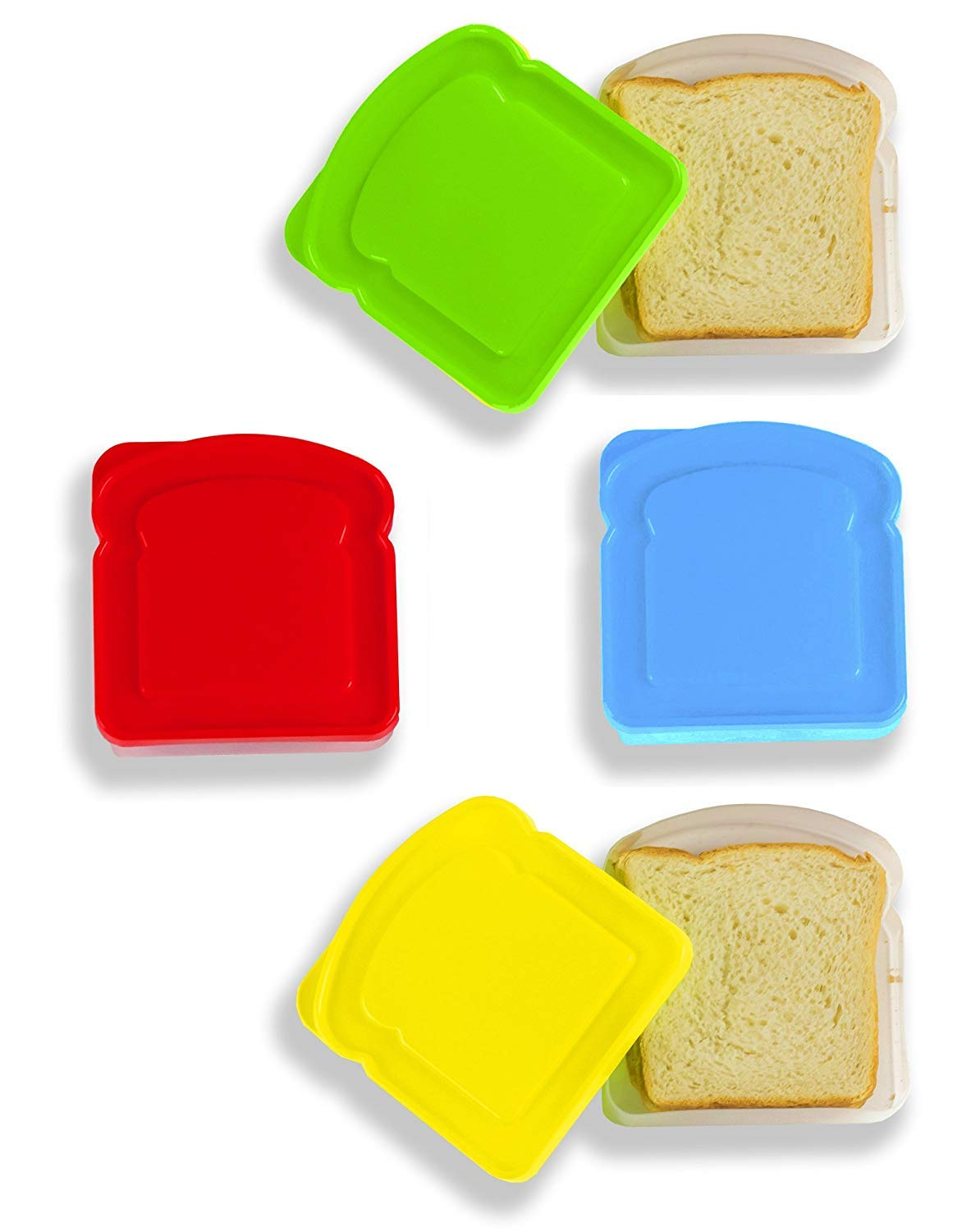 DecorRack 4 Pack Sandwich Containers -BPA FREE- Plastic Sandwich Box for Kids and Adults, Food Storage Container for Lunch and Snacks (Assorted)