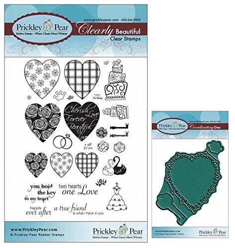 - Prickley Pear Heart Key Crown Clear Cling Stamp and Die Set # CLR016 and PPRS-D-016 (Bundle 2 Items)