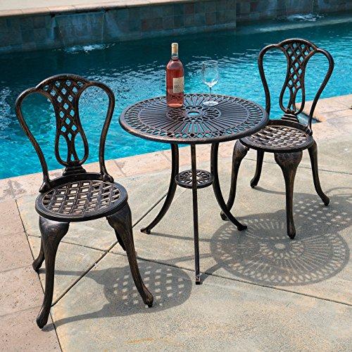 Weather Proof Cast Aluminum Outdoor Patio Bistro Table Chair Set Perfect For Your Garden, Park, Deck, Pool (Antique Bronze) (Wilkinsons Rattan Garden Furniture)
