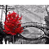 Thouet 5D DIY Diamond Embroidery Red Tree and Bridge Diamond Painting Cross Stitch Full Drill Rhinestone Painting Kit