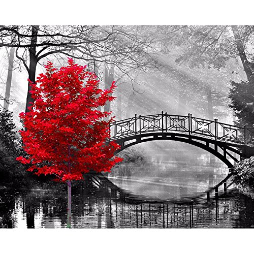 Thouet 5D DIY Diamond Embroidery Red Tree and Bridge Diamond Painting Cross Stitch Full Drill Rhinestone Painting Kit by Thouet