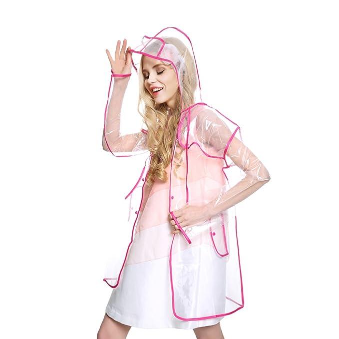 Holiberty Womens Girls Fashion Clear Hooded Raincoat Lightweight Travel Packable Rain Jacket Poncho Rainwear