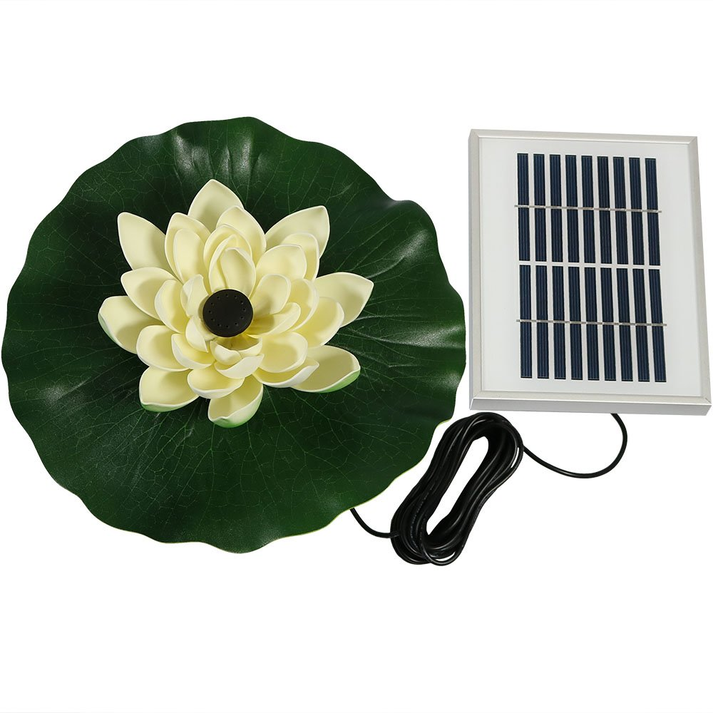 Sunnydaze Submersible Water Pond Pump Solar Powered Fountain Kit, Outdoor Floating Lotus Flower, 48 GPH, White