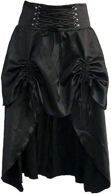 Aiuem Steampunk Faldas para Mujer Faldas de Satén Negro Vintage ...