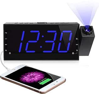 """ساعة حائط سقفية وجهاز تنبيه AM FM راديو المنبه، 7"""" مكتب رقمي LED / ساعة رف مع خافت للضوء، شحن USB، تعمل بالتيار المتردد وبطارية احتياطية لغرفة النوم والمطبخ والأطفال"""