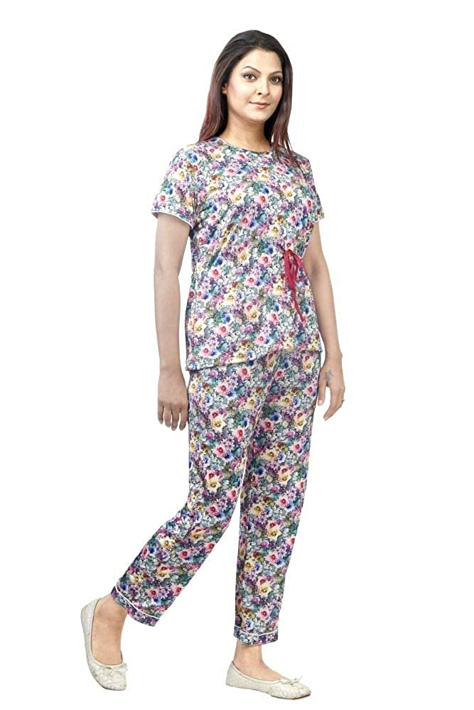 6d2d473154c IMJI Nightwear Multicoloured Floral Printed Pajama Set with Short for  Women  Amazon.in  Clothing   Accessories
