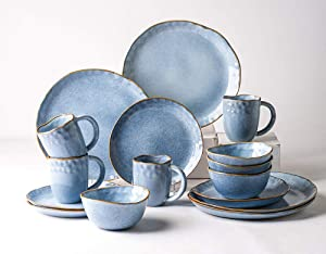 Pangu 16-Piece Dinnerware Sets, Service for 4,Blue, Handmade Random Shaped, 4 Bowls, 4 Dishs, 4 Salad Plates, 4 Mugs, AQUAMARINE