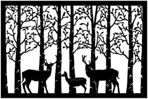 Metal Wall Art Decor Deer Family in The Forest Metal Wall Sculpture Decorative Wall Hanging Art Animal Metal Artwork Rustic Home Office Forst Cabin Farmhouse Decorations