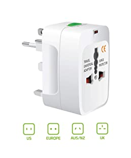 Aerico All in One International Travel Multi 3 Pin Adapter for (US,AUS,NZ,Europe,UK) Universal Travel Adapter Plug Surge Protector (White)