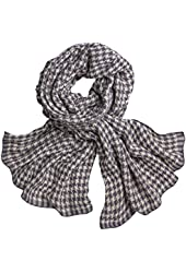 Women's Houndstooth Woven Wool Scarf