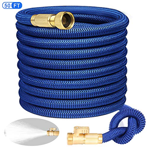 Expandable Garden Hose 50FT with 3/4″ Solid Brass Fittings,Triple Layer Latex Core & Extra Strength Fabric Wrapped Super Durable Flexible Water Hose with Portable Storage Bag (Blue)