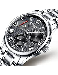 Mens Energy Display 25 Jewels Automatic Watches Silver Band Transparent Back Cover Calendar Watch Black