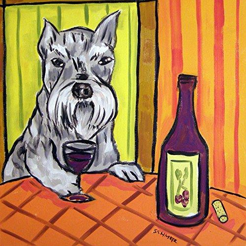 - Schnauzer Art Dog Wine Tile Coaster Decoration