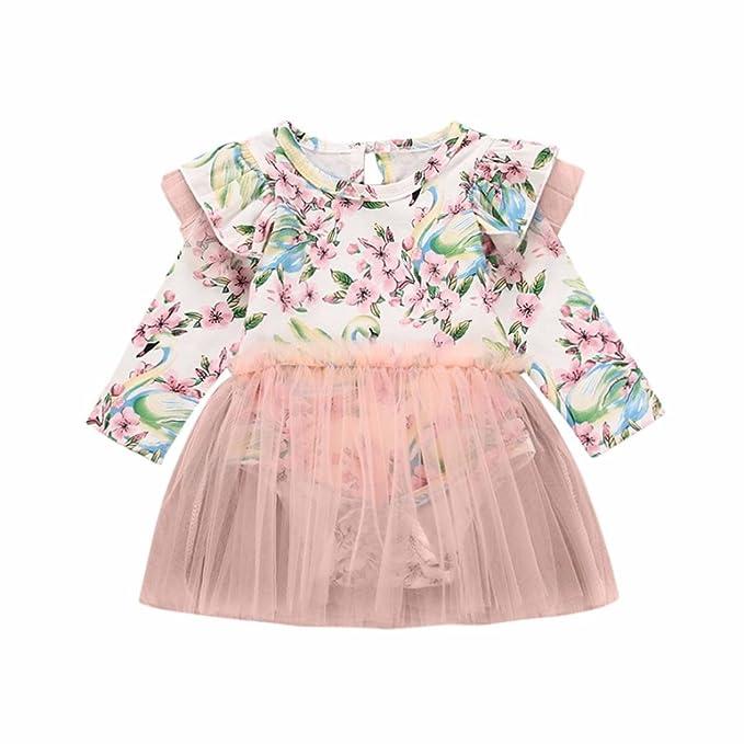 Para 0 - 24 meses Niñas Vestido, janly® Bebé Pelele de tutú vestido bebé recién nacido floral hilo Red de impresión vestidos, rosa, 6-12 meses: Amazon.es: ...