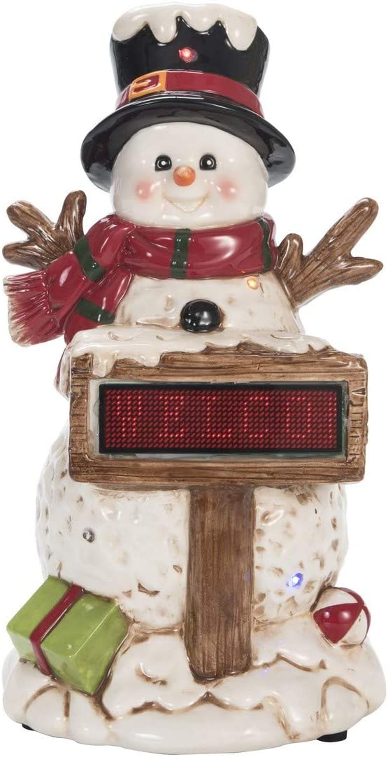 Transpac The Light Up/Music Snowman w/Sign Christmas Decor Standard