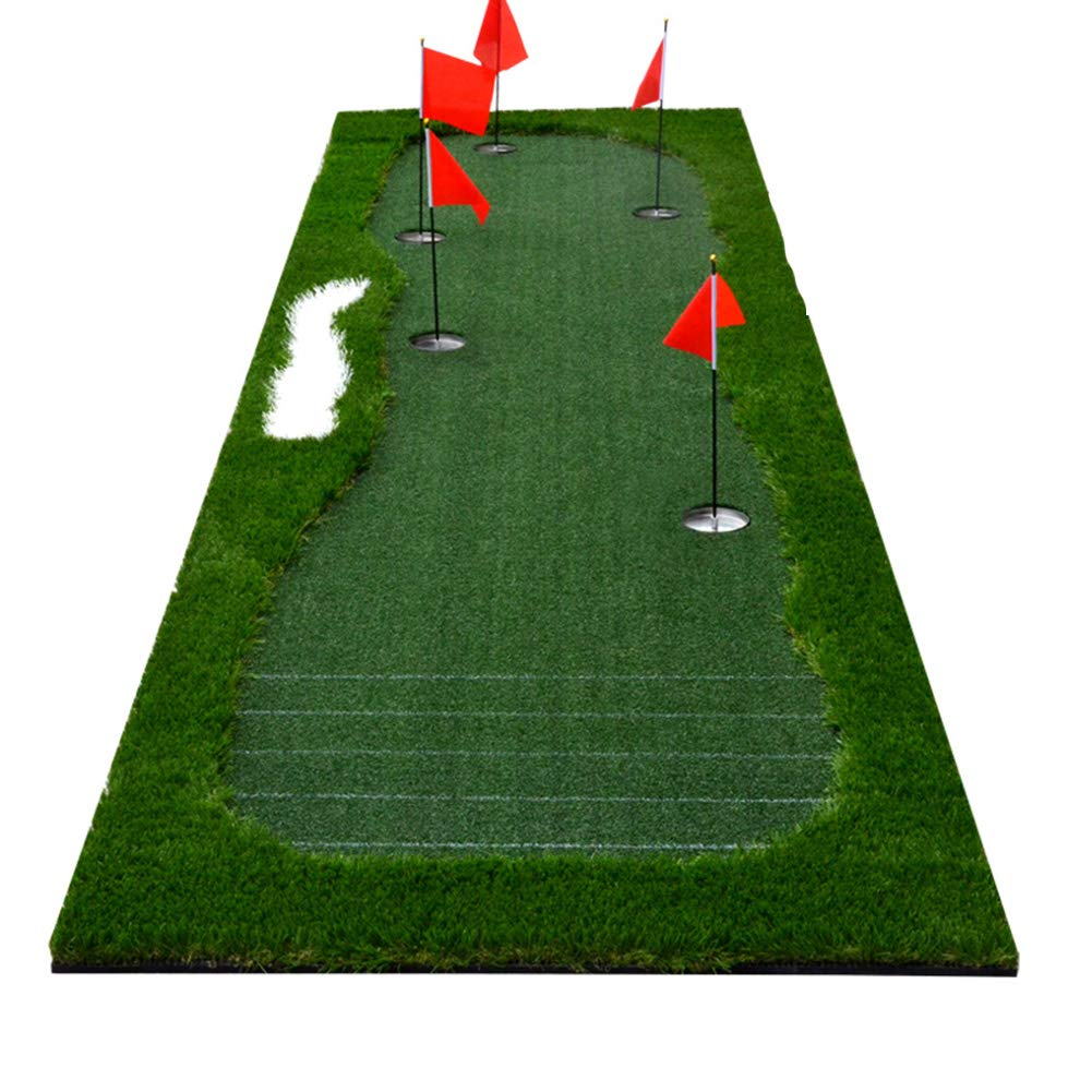 WENZHE ゴルフマット パターマット 練習器具 ネット ティックマーク パット トレーナー ポータブル 家族 オフィス 使用 クラブでは、 3.5×1m   B07P32N974