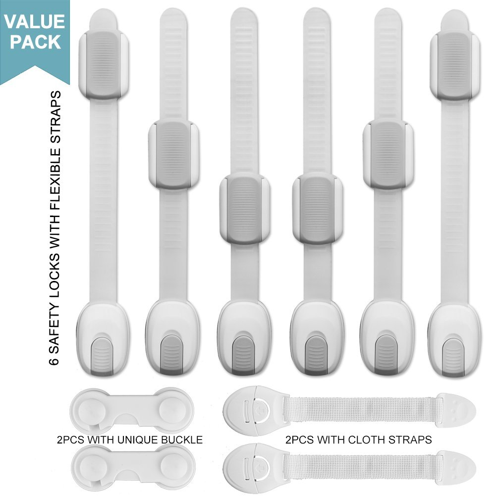 Bluecookies 10PCS Child Safety Locks for Baby Kids Proof Cabinets Drawers Fridge Oven Dishwasher Toilet Seat No Tools or Drilling