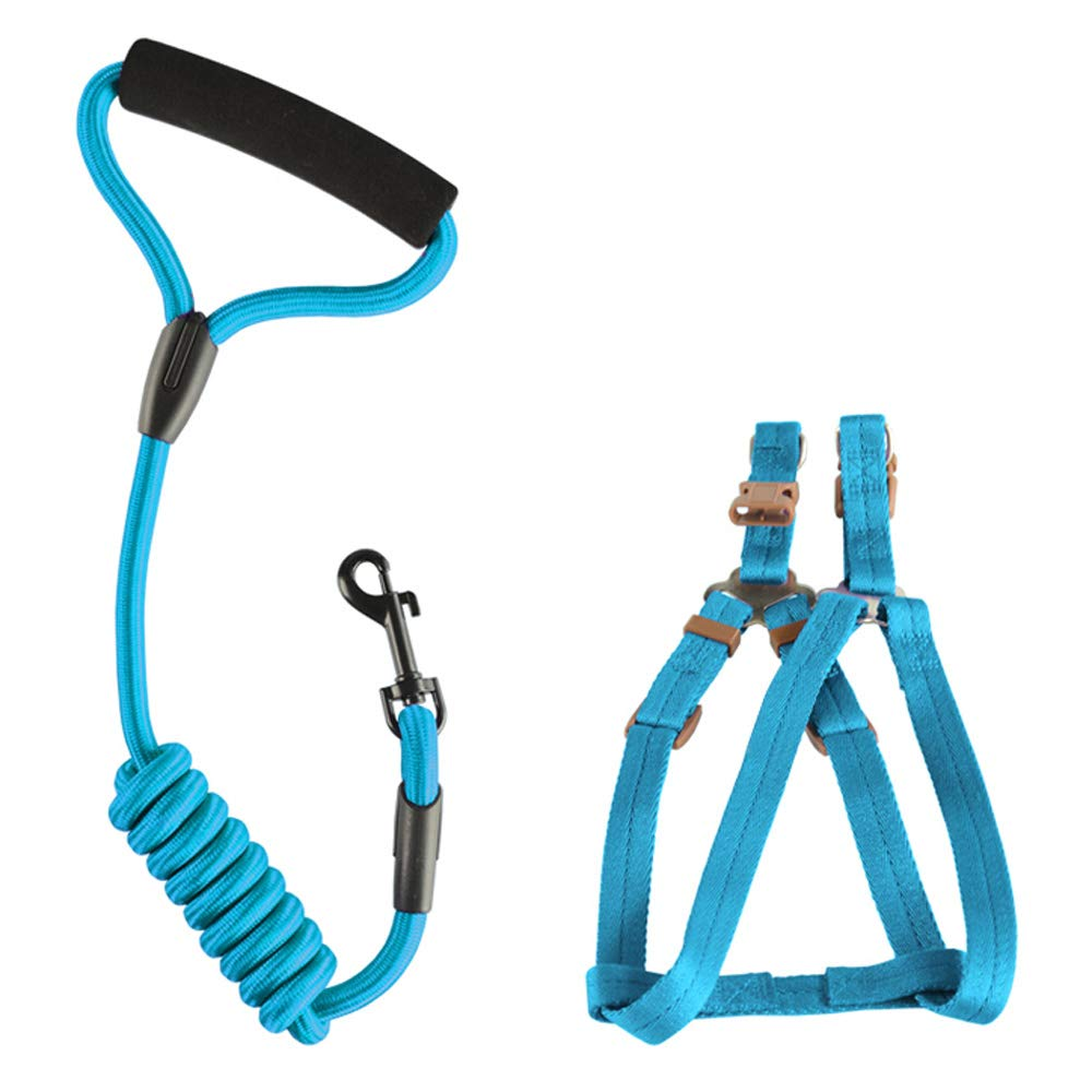 Light bluee LargeDog Safety Vest Harness, Pet Dog Adjustable Harness with Walking Lead Leash Chest Strap Durable Comfortable