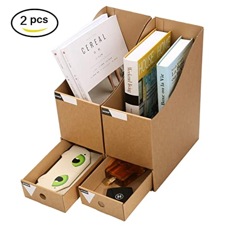 Caveen Magazine Holder With Drawer Kraft Paper File Holder Office Supplies  Desk Storage Organizer Documents File